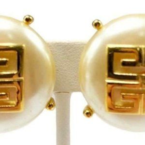 Givenchy 18 kt Gold Plated Large Simulated Pearl E